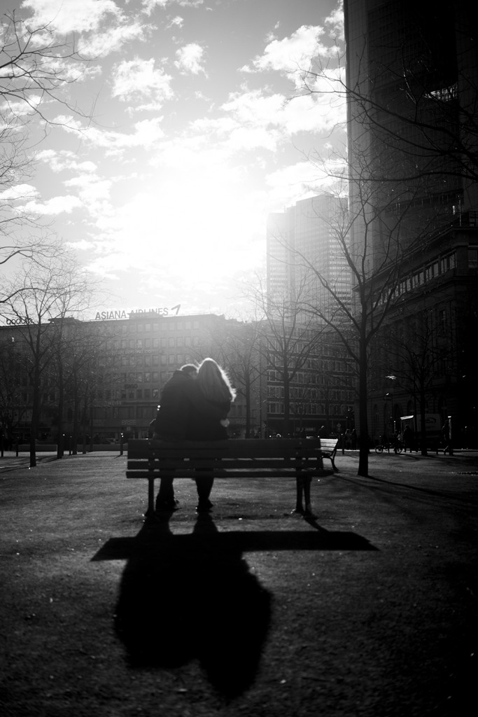 Tuesday, January 13th, 2015 in Frankfurt - Number 014 of 366mm Frankfurt Goetheplatz lovers on the park bench in back light