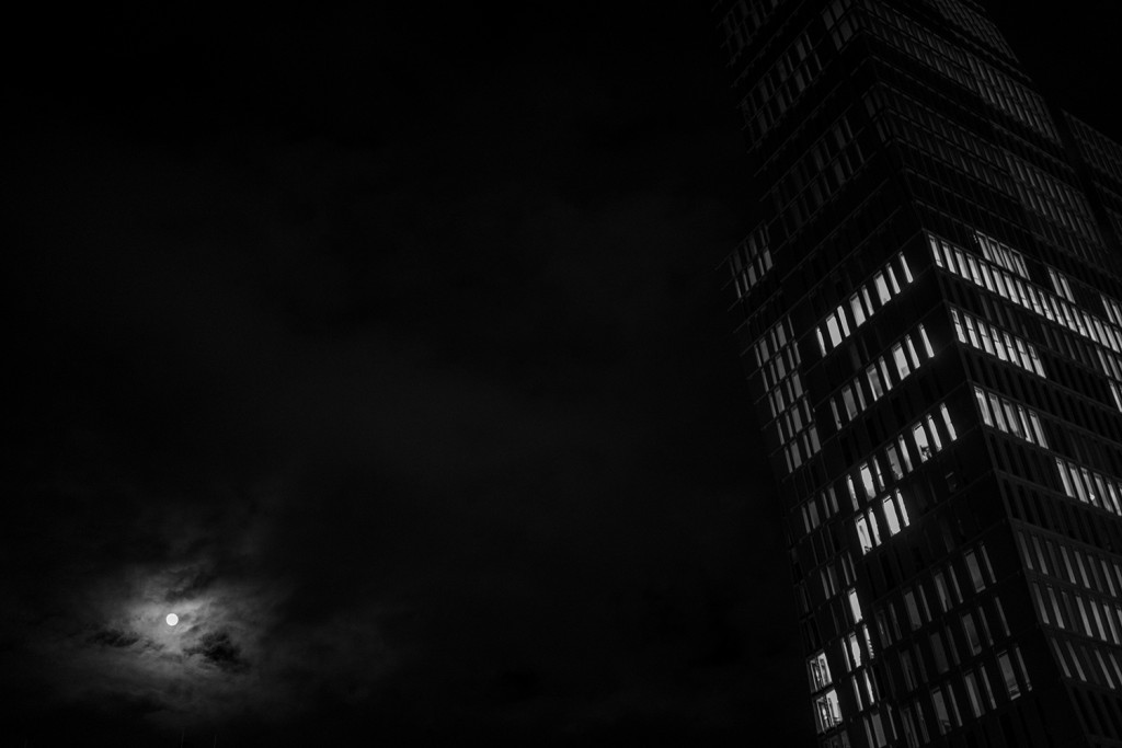 Tuesday, March 3rd, 2015 in Frankfurt - Number 063 of 366mm Mysterious converging lines of a skyscraper in the moonlight