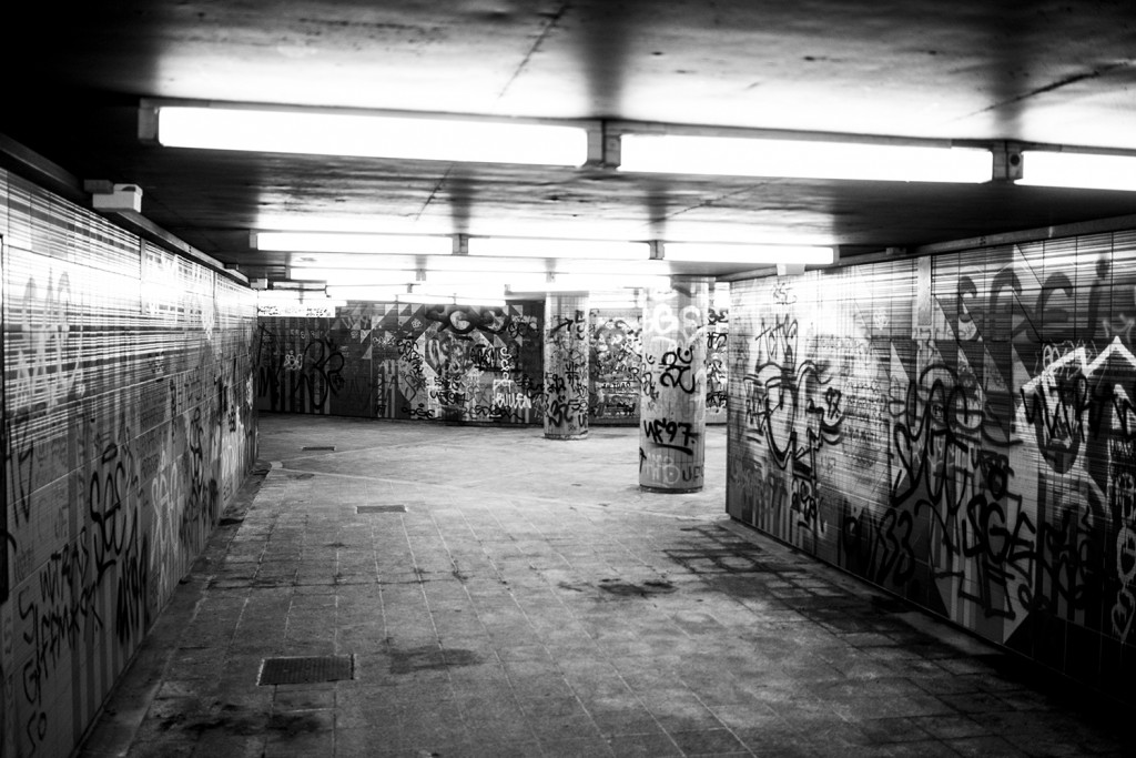 "Wednesday, 25 March 2015 in Frankfurt - Number 085 of 366mm Graffiti in the ""Lindenbaum""-Subway Station in Frankfurt Eschersheim"