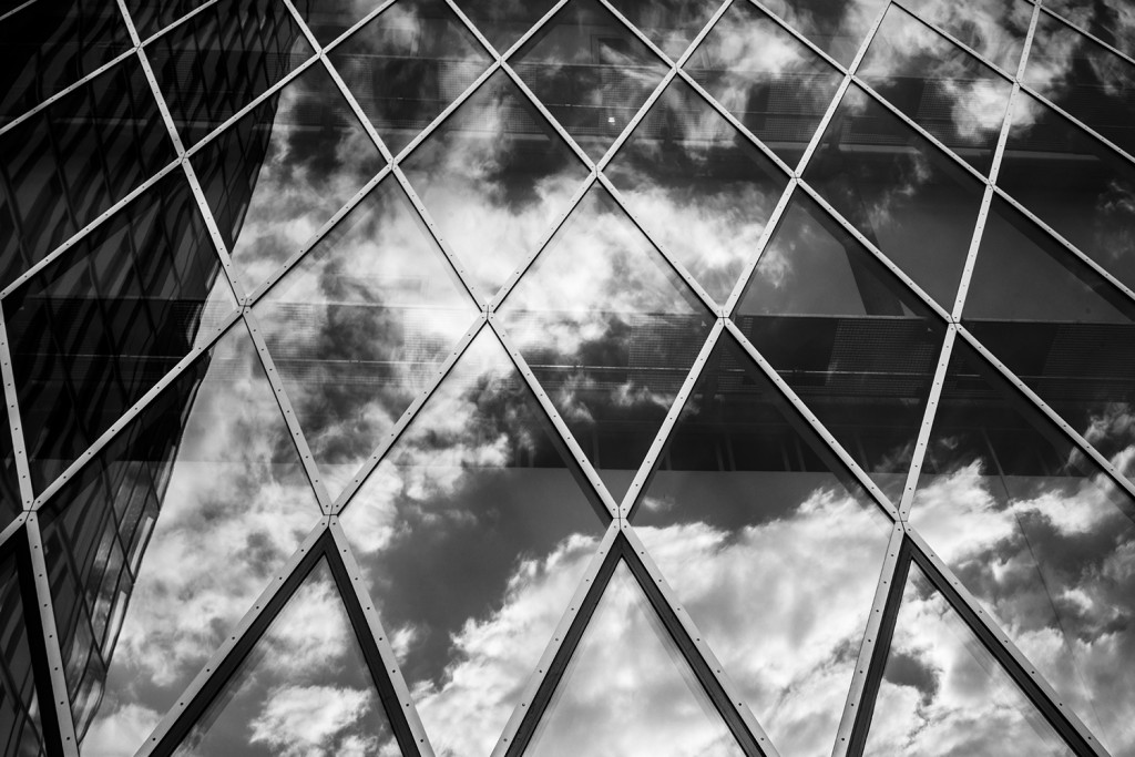 """Tuesday, April 28th, 2015 in Frankfurt - City - Number 119 of 366mm The house front of the """"MyZeil""""-shopping center reflects the clouds"""