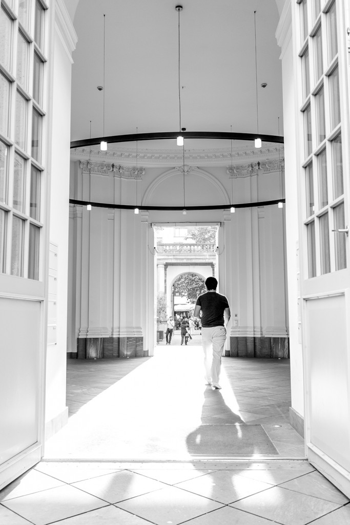 "Monday, May 11th, 2015 in Frankfurt - City - Number 132 of 366mm Man's walking towards the sun at ""Palais Thurn und Taxis"""