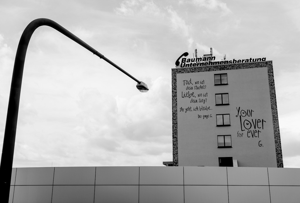 """Friday, May 29th,  2015 in Frankfurt - Number 150 of 366mm Street art: Quotation of the """"youthful Goethe"""" near """"Hanauer Landstr."""" shoot from the Honda Center"""