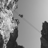 Saturday, July 4th, 2015 near Wilder Kaiser - Number 186 of 366mm Mountaineer is crossing a gorge on a fixed-rope route