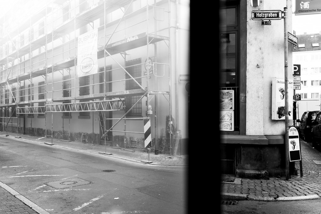 "Monday, December 14th, 2015 in Frankfurt – Number 349 of 366mm ""Holzgraben Strasse"" split trough a window glass"